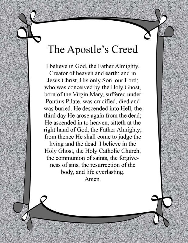 This is an image of Challenger Printable Apostles Creed